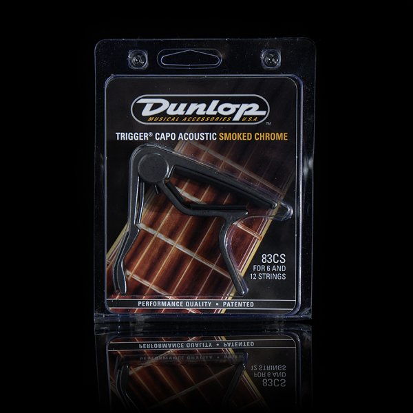 Dunlop 83CS Curved Acoustic Guitar Trigger Capo  Smoked Chrome